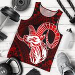 Aries zodiac With Symbol Mix Polynesian Tattoo Men's Tank Top