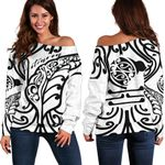 Aotearoa Maori New Zealand Off Shoulder Sweater Tribal Fern White | 1st New Zealand