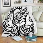 Aotearoa Maori New Zealand Premium Blanket Tribal Fern White | 1st New Zealand