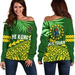 Cook Islands Rugby Off Shoulder Sweater Coconut Leaves - The Kuki's | 1st New Zealand