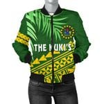 Cook Islands Rugby Women Bomber Jacket Coconut Leaves - The Kuki's | 1st New Zealand