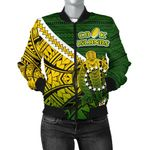 Cook Islands Women Bomber Jacket Style Turtle Rugby | 1st New Zealand