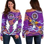 Storm Women Off Shoulder Sweater Melbourne Indigenous Thunder |1st New Zealand