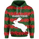 (Custom Personalised) Rabbitohs Hoodie Poppy Flowers