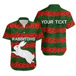 (Custom Personalised)Rabbitohs Hawaiian Shirt Poppy Flowers