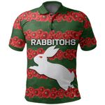 (Custom Personalised) Rabbitohs Polo Shirt Poppy Flowers