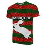 (Custom Personalised) Rabbitohs T-Shirt Poppy Flowers