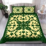 Turtle with Hibiscus Royal Green Bedding Set Palm Leaf TH5