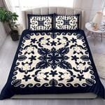 Turtle with Hibiscus Royal Navy Bedding Set Palm Leaf