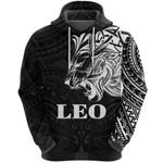 Sun In Leo Zodiac Hoodie Polynesian Tattoo Simple - White K8
