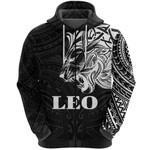 Sun In Leo Zodiac Zip Hoodie Polynesian Tattoo Simple - White K8