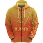 Sun In Leo Zodiac Zip Hoodie Polynesian Tattoo Simple - Orange K8