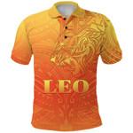 Sun In Leo Zodiac Polo Shirt Polynesian Tattoo Simple - Orange K8