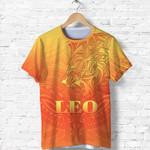 Sun In Leo Zodiac T Shirt Polynesian Tattoo Simple - Orange K8