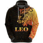 Sun In Leo Zodiac Zip Hoodie Polynesian Tattoo Simple - Orange Black K8