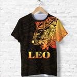 Sun In Leo Zodiac T Shirt Polynesian Tattoo Simple - Orange Black K8
