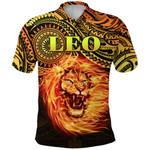 Sun In Leo Zodiac Polo Shirt Polynesian Tattoo Unique Vibes K8