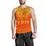 Sun In Leo Zodiac Men Tank Top Polynesian Tattoo Simple - Orange