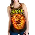 Sun In Leo Zodiac Women Racerback Tank Polynesian Tattoo Unique Vibes