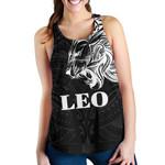 Sun In Leo Zodiac Women Racerback Tank Polynesian Tattoo Simple - White
