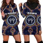 Adelaide Women Hoodie Dress Indigenous Crows Footprint