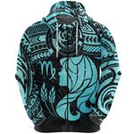 Virgo Zodiac Zip Hoodie Polynesian Tattoo Original Vibes - Light Blue K8