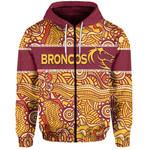 Brisbane Broncos Zip-Hoodie Aboriginal Patterns