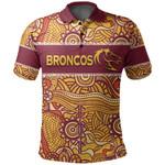 (Custom Personalised)Brisbane Broncos Polo Shirt Aboriginal Patterns