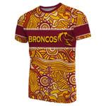 (Custom Personalised)Brisbane Broncos T-Shirt Aboriginal Patterns