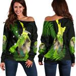 Aotearoa Kakapo Bird Women's Off Shoulder Sweater With Fern