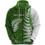 Aotearoa Maori Koru Zip Hoodie Silver Fern Front | 1st New Zealand