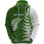 Aotearoa Maori Koru Hoodie Silver Fern Front | 1st New Zealand