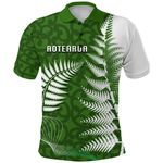 Aotearoa Maori Koru Polo Shirt Silver Fern Front   1st New Zealand