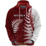 Aotearoa Maori Koru Zip Hoodie Silver Fern - Red Front | 1st New Zealand