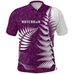 Aotearoa Maori Koru Polo Shirt Silver Fern - Purple Front   1st New Zealand