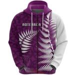 Aotearoa Maori Koru Zip Hoodie Silver Fern - Purple Front | 1st New Zealand
