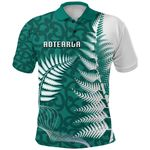 Aotearoa Maori Koru Polo Shirt Silver Fern - Turquoise Front | 1st New Zealand
