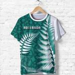 Aotearoa Maori Koru T Shirt Silver Fern - Turquoise Front | 1st New Zealand