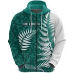 Aotearoa Maori Koru Zip Hoodie Silver Fern - Turquoise Front | 1st New Zealand
