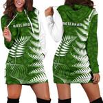 Aotearoa Maori Koru Women Hoodie Dress Silver Fern   1st New Zealand