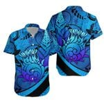 Thistle Hawaiian Shirt Silver Fern - Blue K8