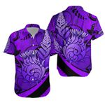 Thistle Hawaiian Shirt Silver Fern - Purple K8