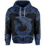 Aotearoa Maori Koru Aihe Hoodie Blue