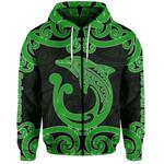 Aotearoa Maori Koru Aihe Zip-Hoodie Green