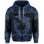 Aotearoa Maori Koru Aihe Zip-Hoodie Blue