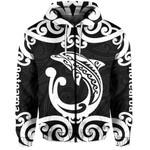 Aotearoa Maori Koru Aihe Zip-Hoodie White