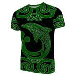 Aotearoa Maori Koru Aihe T-Shirt Green