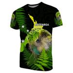 Aotearoa Kakapo Bird T-Shirt With Fern