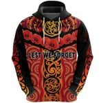 Anzac Lest We Forget Poppy Hoodie New Zealand Maori Silver Fern - Australia Aboriginal K8
