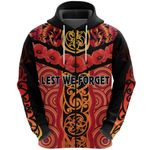 Anzac Lest We Forget Poppy Zip Hoodie New Zealand Maori Silver Fern - Australia Aboriginal K8